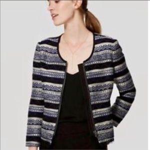 loft blue zip blazer